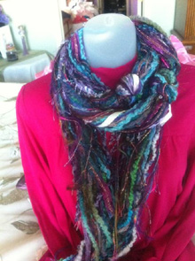 Ribbon Yarn Turquoise Wine Green Scarf by Scarves of Westwood