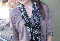 Ribbon Yarn Blue Black Scarf by Scarves of Westwood