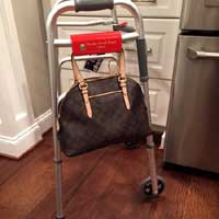Keep your hands free! Attach your bag to your walker with a Slip Clip.