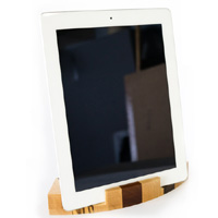 Exotic Wood iPad Stand iPad in Vertical Position