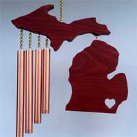 Michigan Wind Chime with Heart