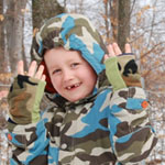 Children's Camo Seasons Reversible Fingerless Gloves