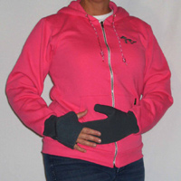 Pink Great Lakes Hoodie with Gray Convertible Turtle Gloves