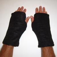 Black/Coffee Reversible Fingerless Gloves