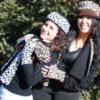 Cheetah/Dalmatian Reversible Fingerless Gloves, Scarf, Hat
