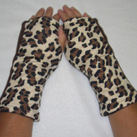 Cheetah Print Reversible Fingerless Gloves