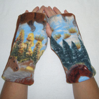Horse Print Reversible Fingerless Gloves