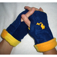 Michigan Fingerless Reversible Gloves