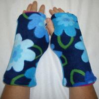 Blue Flower Print Reversible Fingerless Gloves