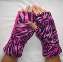 Pink Zebra Print Sparkle Reversible Fingerless Gloves