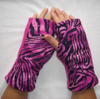 Pink Zebra Print Sparkle Reversible Fingerless Gloves
