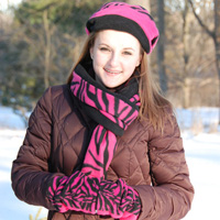Pink Zebra Reversible Fingerless Gloves, Scarf, Hat