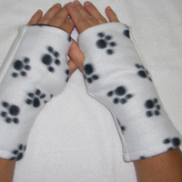 Puppy Paw Print Reversible Fingerless Gloves