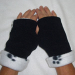 Puppy Paw/Dalmatian Reversible Fingerless Gloves by Turtle Gloves