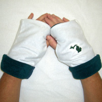 Green & White Reversible Fingerless Gloves with Michigan Emblem
