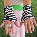 Children's Zebra Reversible Fingerless Gloves