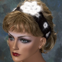 Flower Headband - Black and White with Angora Flower