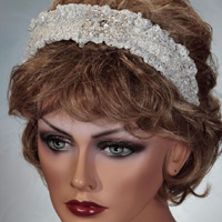 White Headband with Rhinestone Butterfly