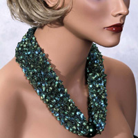 Scarf Necklace - Green and Teal with Green Bead