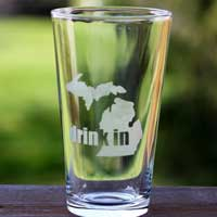 Etched Drink In Michigan Glass