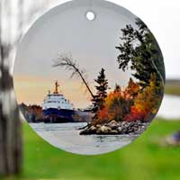 Michigan Glass Photo Ornament