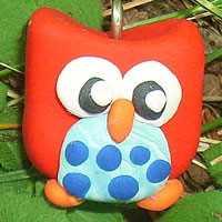 Woodland Owl Polymer Clay Charm