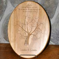 Engraved Family Tree Wood Plaque