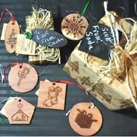Engraved Cedar Ornaments
