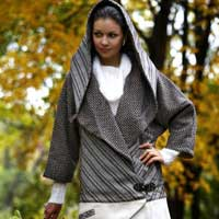 Brown & Sparkle Silver Hooded Coat