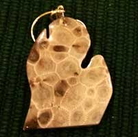 Michigan Mitten Petoskey Stone Ornaments