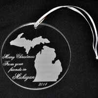 Personalized Engraved Michigan Acrylic Ornament
