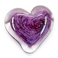 Blown Glass Heart Paperweights