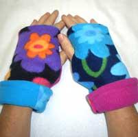 Flower Reversible Fingerless Gloves