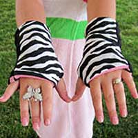 Zebra Reversible Fingerless Gloves