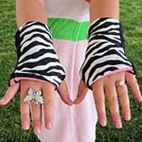 Zebra Reversible Fingerless Gloves