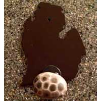 Michigan Mitten Steel Coat Hook with Petoskey Stone