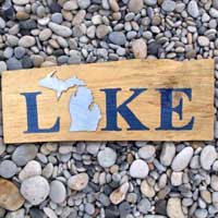 Michigan Barnwood LAKE Sign