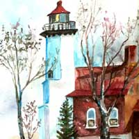 Painting of Eagle Harbor Lighthouse
