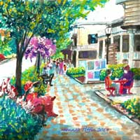 Painting of Sunday Stroll in Frankenmuth