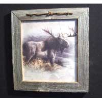 Framed Barnwood Picture with Barb Wire Trim