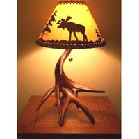 Two Whitetail Antler Lamp with Black Forest Finish