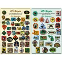 Michigan Deer Patch Poster AND Michigan Turkey Hunter Patch Poster