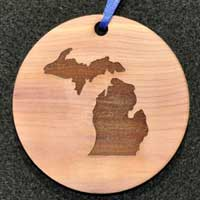 Aromatic Cedar Gift Tag / Ornament with Engraved Michigan Map