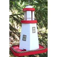 Painted Barnwood Lighthouse Birdfeeders