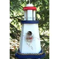 Painted Barnwood Lighthouse Birdhouse