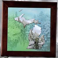 Framed Michigan Photo Tiles by Riverstone Gallery