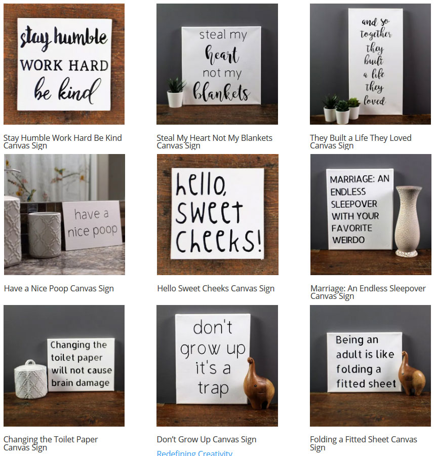 Black and White Statement Canvas Signs by Redefining Creativity