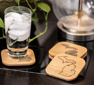 Engraved Wood Michigan Coasters